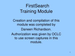 FirstSearch  Training Module