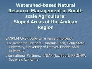 SANREM CRSP Long-term research project