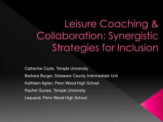 Leisure Coaching & Collaboration: Synergistic Strategies for Inclusion
