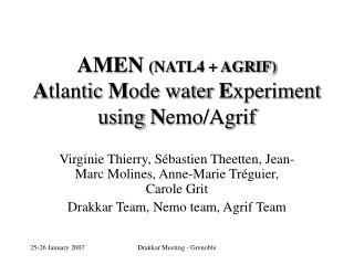 AMEN  (NATL4 + AGRIF) A tlantic  M ode water  E xperiment using  N emo/Agrif