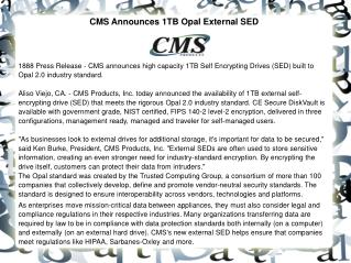 CMS Announces 1TB Opal External SED