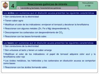 Reacciones químicas de interés