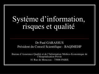 Système d'information, risques et qualité