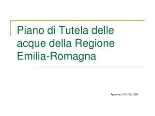 Piano di Tutela delle acque della Regione Emilia-Romagna