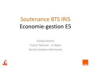 Soutenance BTS IRIS Economie-gestion E5