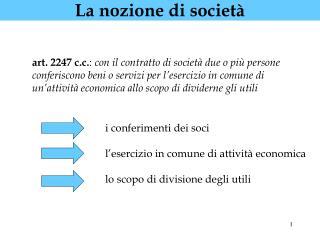 La nozione di società