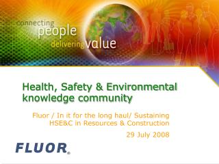 Health, Safety  Environmental knowledge community