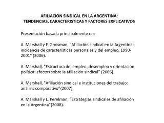 AFILIACION SINDICAL EN LA ARGENTINA: