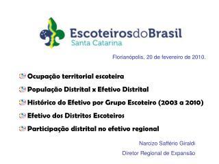 Ocupação territorial escoteira  População Distrital x Efetivo Distrital