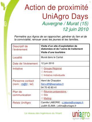 Action de proximité UniAgro Days Auvergne / Murat (15) 12 juin 2010