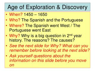 analysis of the age of exploration Discover the history and impact of the age of exploration, which lasted from the  early 15th century to the end of the 17th century.