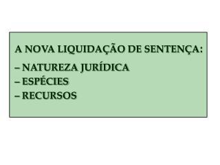 A NOVA LIQUIDAÇÃO DE SENTENÇA :    – NATUREZA JURÍDICA     – ESPÉCIES     – RECURSOS