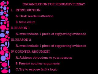 ORGANIZATION FOR PERSUASIVE ESSAY INTRODUCTION A. Grab readers attention B. State claim