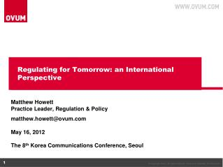 Regulating for Tomorrow: an International Perspective