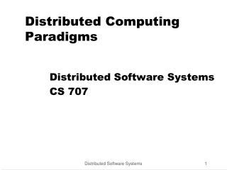 Distributed Computing Paradigms
