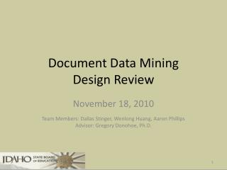 Document Data Mining Design Review