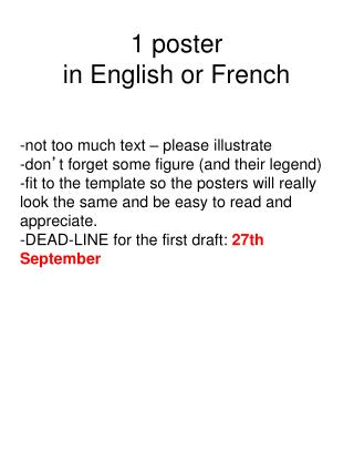 1 poster  in English or French