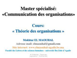 Master spécialisé: «Communication des organisations»