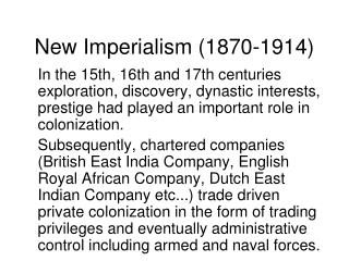 New Imperialism (1870-1914)