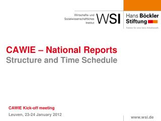 CAWIE – National Reports Structure and Time Schedule