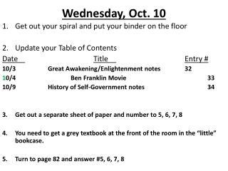 Wednesday, Oct. 10