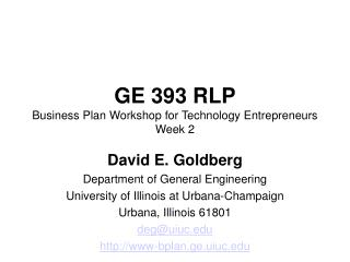 GE 393 RLP Business Plan Workshop for Technology Entrepreneurs Week 2