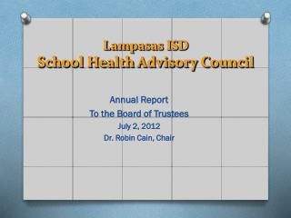 Lampasas ISD School Health Advisory Council