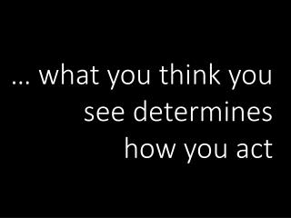… what you think you see determines  how you act