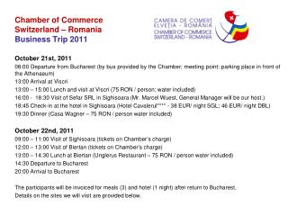 Chamber of Commerce  Switzerland – Romania Business Trip 2011