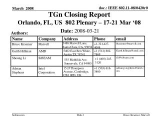 TGn Closing Report  Orlando, FL, US  802 Plenary – 17-21 Mar '08