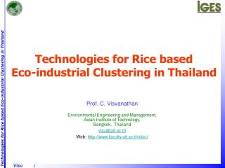 Technologies for Rice based Eco-industrial Clustering in Thailand