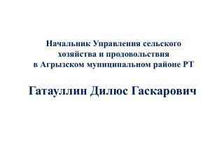 Начальник Управления сельского хозяйства и продовольствия в Агрызском муниципальном районе РТ