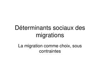 Déterminants sociaux des migrations