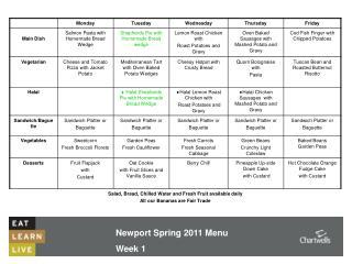 Newport Spring 2011 Menu  Week 1