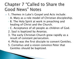 """Chapter 7 """"Called to Share the Good News"""" Notes"""