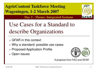 Use Cases for a Standard to describe Organizations
