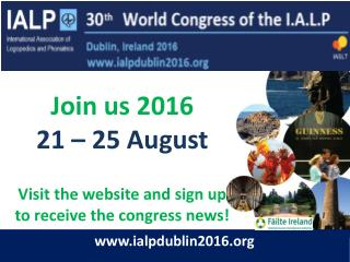 Join us 2016 21 – 25 August Visit the website and sign up  to receive the congress news!