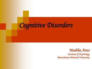 Cognitive Disorders