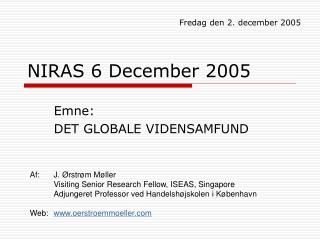 NIRAS 6 December 2005