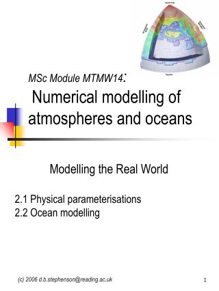 MSc Module MTMW14 : Numerical modelling of atmospheres and oceans