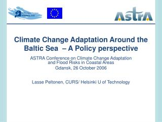 Climate Change Adaptation Around the Baltic Sea    A Policy perspective