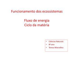 Funcionamento dos ecossistemas Fluxo de energia Ciclo da matéria