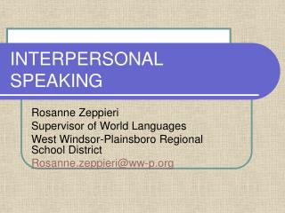 INTERPERSONAL SPEAKING