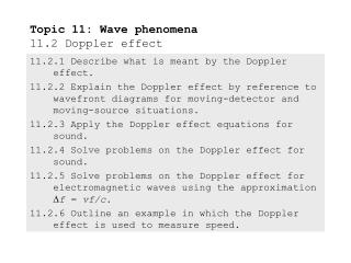 Topic 11: Wave phenomena 11.2 Doppler effect