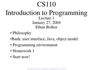 CS110 Introduction to Programming