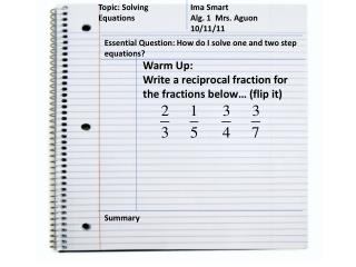 Topic: Solving Equations