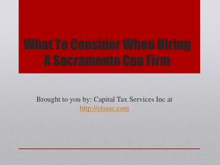What To Consider When Hiring A Sacramento Cpa Firm