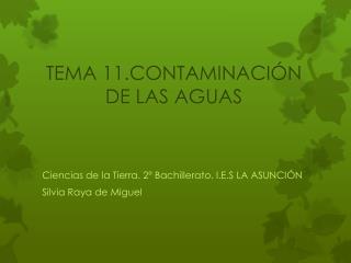 TEMA 11.CONTAMINACI�N DE LAS AGUAS