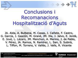 Conclusions i Recomanacions Hospitalització d'Aguts