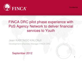 FINCA DRC pilot phase experience with PoS Agency Network to deliver financial services to Youth